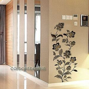 Large-Vine-Flowers-Wall-Stickers-Vinyl-Art-Decals-Wallpaper-Stylish-Black-Gold