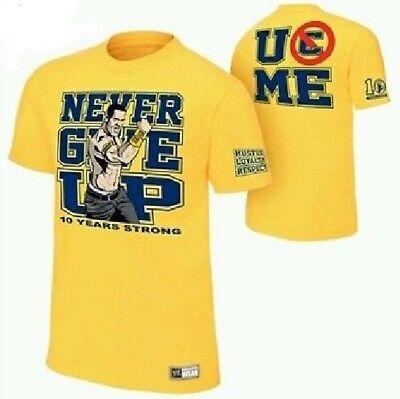 WWE John Cena CARTOON s/s Yellow Shirt Boy's XXL 18/20 NeW NEVER GIVE UP Top