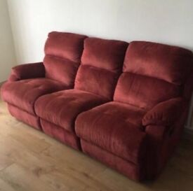 Red 3 seater recliner sofa