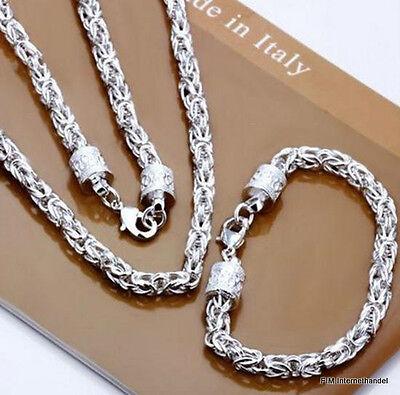 Set Königskette 60cm 6mm Königsarmband 20cm 6mm Armband Kette Silber Pl Neu HGD6
