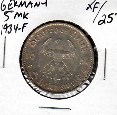 Germany 5 Mark 1934-F XF
