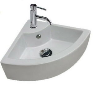 Corner Sink Cloakroom : ... Stylish-Small-Hand-Wash-Ceramic-Cloakroom-Corner-Basin-Sink-1-Tap-Hole