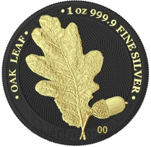GERMANIA 5 MARK 1 OZ SILVER OAK LEAF BLACK & GOLD 24kt OAK LEAF  (Not Painted)
