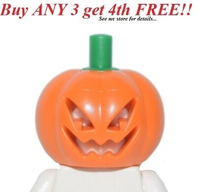 ☀️NEW Lego Minifig Pumpkin Head Halloween w/ green stem minifigure ](Pumpkin Head Halloween)