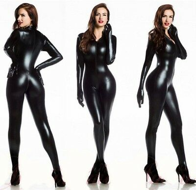 CATSUIT BLACK WETLOOK ALL IN ONE WITH CLOSING ZIP GLOVES AND MAGPIES - All Black Catsuit
