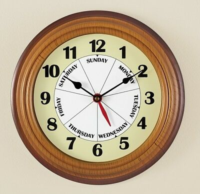 Day of the Week Round Clock Wall Hanging Battery Operated Displays Time and Day