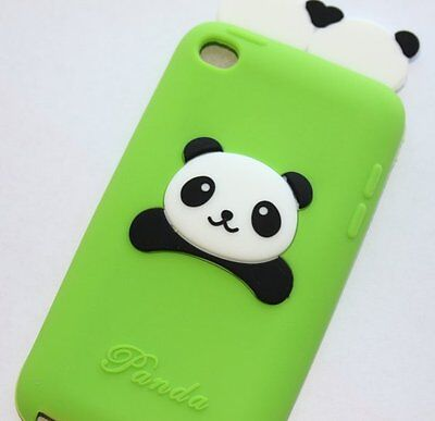 (iPod Touch 4th Gen - SOFT SILICONE RUBBER GUMMY CASE COVER GREEN BLACK 3D PANDA )