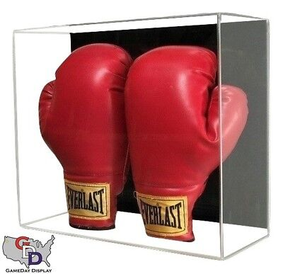 Acrylic Wall Mount Double Boxing Glove Display Case UV Protecting Full (Double Wall Mount)