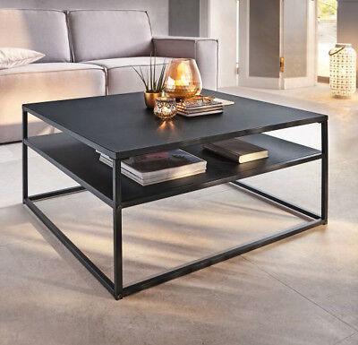 Couchtisch Zara Metall Sofatisch Tisch Wohnzimmertisch Industrie Schwarz Ablage (Zara Möbel)