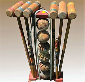 25 Pc Wooden Vintage Croquet Set with Character