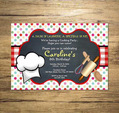 Cooking Birthday Party Invitation, Custom Printable Chef Party Bash Invitation Custom Printable Birthday Invitations