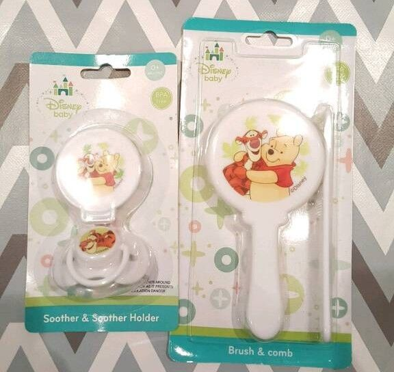 Disney Soother + soother holder + brush + comb