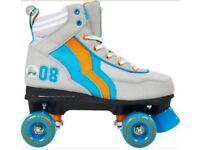 NEW Rio Roller Varsity Kids Adult Boy Girl Quad Roller Skates- Grey Orange Blue Size 7