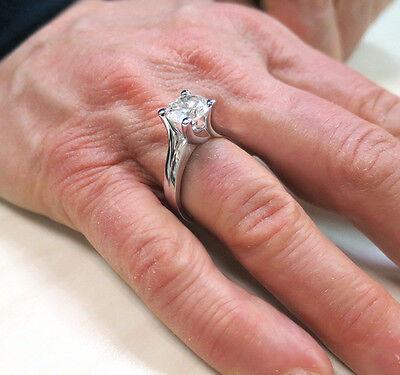 1.54 ct Round brilliant Diamond Solitaire 14k White Gold Ring GIA report K VS2 5