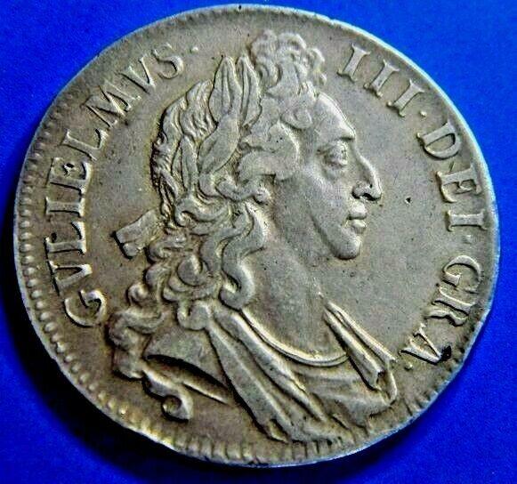 1696 WILLIAM 3RD SILVER CROWN,OCTAVO 1ST BUST, HIGH GRADE.