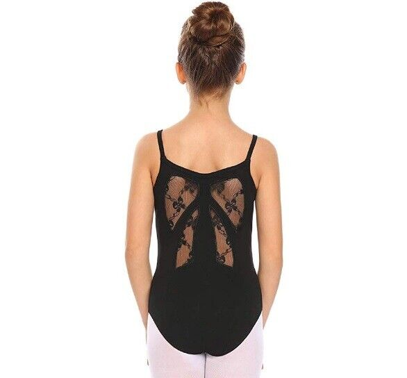 Arshiner Girl's Dance Lace Back Strap Camisole Ballet Leotar