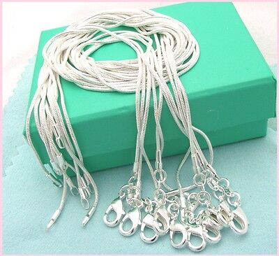 Free shipping wholesale 10PC sterling solid silver 1MM snake chain necklace DC08