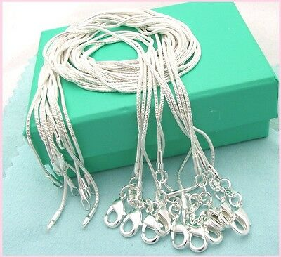 ( 10PCS wholesale 925 sterling solid silver 1MM snake chain necklace XXDC08)