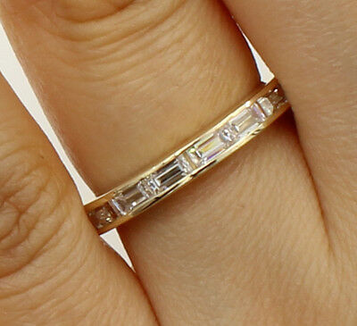 14k Yellow Gold Anniversary Band - 1.50 Ct 14K Yellow Gold Baguette Channel Eternity Wedding Anniversary Ring Band