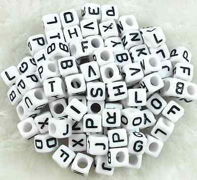 100 Acrylic SINGLE LETTER A-Z White Cube ALPHABET BEADS - Letter Beads