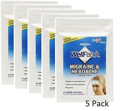 WellPatch Migraine & Headache Cooling Patch 5 Pack - 20 P...