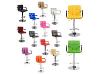 New Havana Faux Leather Breakfast Bar Stools PU Swivel Stool Kitchen Barstools Dining Chair Office
