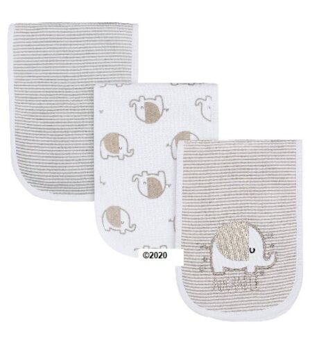 Gerber Baby Boy Or Girl Neutral 3-Pack Elephant Burp Cloths