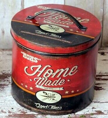 Mom's Homemade Ice Cream Canister Tin Storage Can Vintage Style Kitchen LG