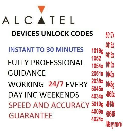 Unlock code For Alcatel onetoch pixi4 4034x 4009x  5045x Tesco Virgin EE O2 fast