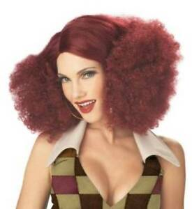 DELUXE BURGUNDY RED SENSATION FANCY DRESS WIG DISCO 70S BIG  AFRO CURLY   1970S