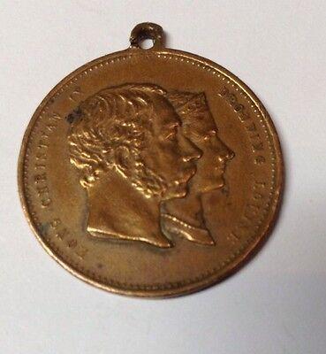 Erinnerung-Medaille Kong Christian IX Drowning Louise 1892 Zur Goldenen Hochzeit