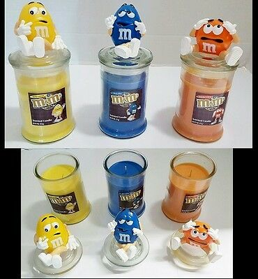 Scented M&M Character Jar Candles Home Colorful CHOOSE COLOR: Blue Orange Yellow](Candle Character)