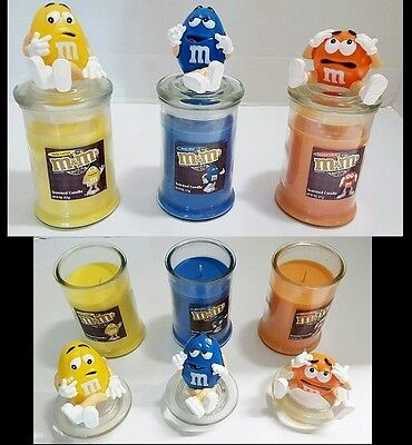 Scented M&M Character Jar Candles Home Colorful CHOOSE COLOR: Blue Orange - Character Candles