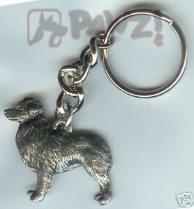 AUSTRALIAN SHEPHERD Dog Fine Pewter Keychain Key Chain Ring