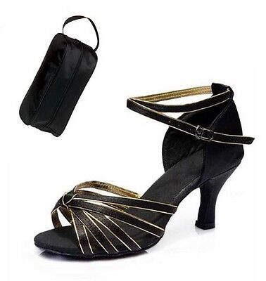 NEW-WOMENS-BLACK-GOLD-SATIN-BALLROOM-LATIN-SALSA-DANCE-SHOES-WITH-SHOE-BAG