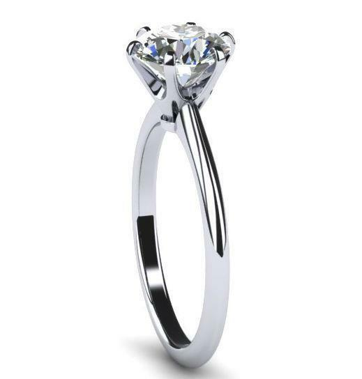 Round Diamond Ring Wedding Agi Certified D Si1 1.3 Ct Smooth 18 Kt White Gold