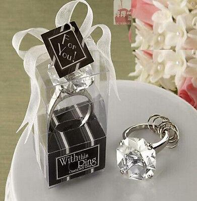FD4518 Big size Faux Diamond Ring Keychain Wedding Bridal Shower 3cm x 5cm - Diamond Ring Keychain
