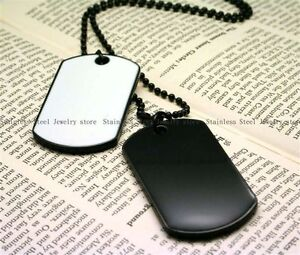 Army Style Black & White 2 Dog Tags Chain Mens Pendant Necklace w/Tracking N037