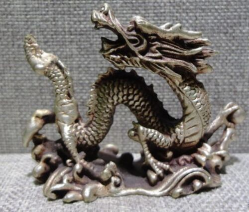 Chinese old Tibet silver copper lucky dragon statue
