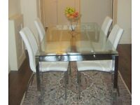 Glass chrome table with 3 chairs