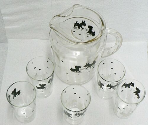 BLACK & WHITE SCOTTIE DOGS PITCHER WITH 5 GLASSES