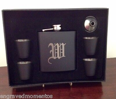 Engraved Flask Stainless Steel Black PERSONALIZED Free Funnel Best Man (Best Stainless Steel Flask)