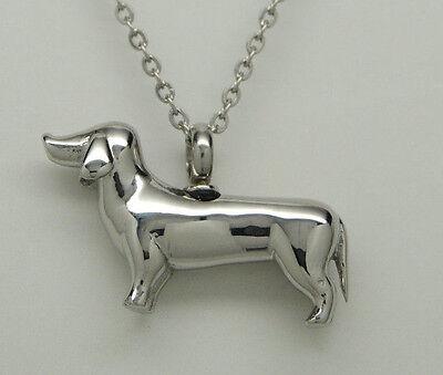 Dachshund Cremation Urn Necklace in Stainless Steel || Dog Memorial Keepsake