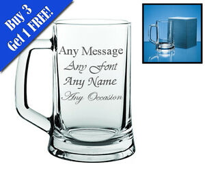 Personalised Engraved Beer Glass Tankard - FREE Gift Engraving NEW Any Occasion