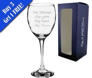 Personalised Engraved Wine Glass With Gift Box - Any Message Engraved!!