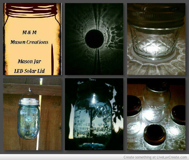 4 DIY Solar Powered LED Light Tops for Reg Size Mason Jars. Free Wire Hangers