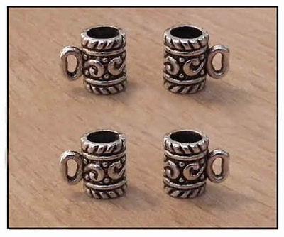 1/12 Dolls House Miniature Four Silver Pint Tankard / Beer Tankards Tudor Lgw