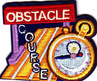 """""""OBSTACLE COURSE""""- Iron On Embroidered Applique Patch- Sports, Competition"""