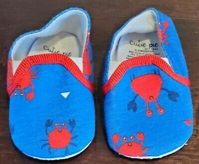 Baby Boy Cutie Pie Blue & Red Crab Shoes Size: 0-3 Months