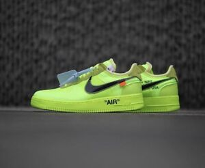 "FOR SALE: NIKE x OFF WHITE AIR FORCE 1 ""VOLT"" 9.5"